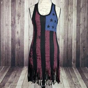 Venus American Flag fringed tank mini dress